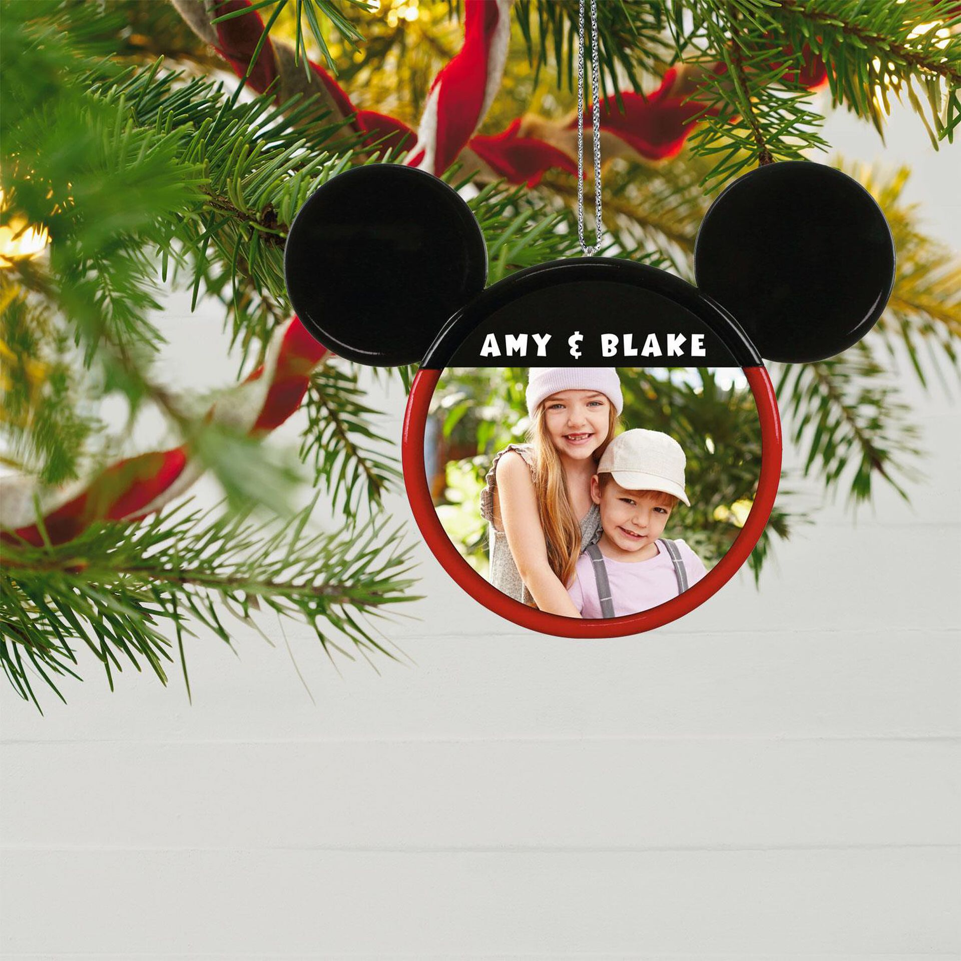 Disney Mickey Mouse Ears Silhouette Text and Personalized Ornament