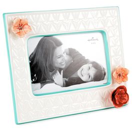 Ceramic Sculpted Flower Picture Frame, 4x6, , large