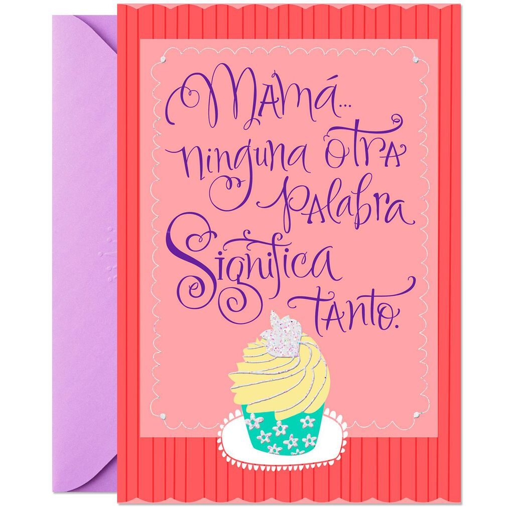 Mom Means Love Pop Up Spanish Language Birthday Card For