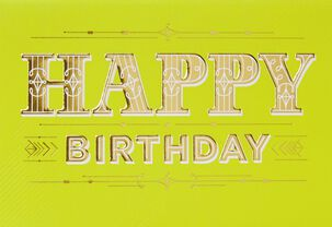 Gold and Stripes Birthday Card