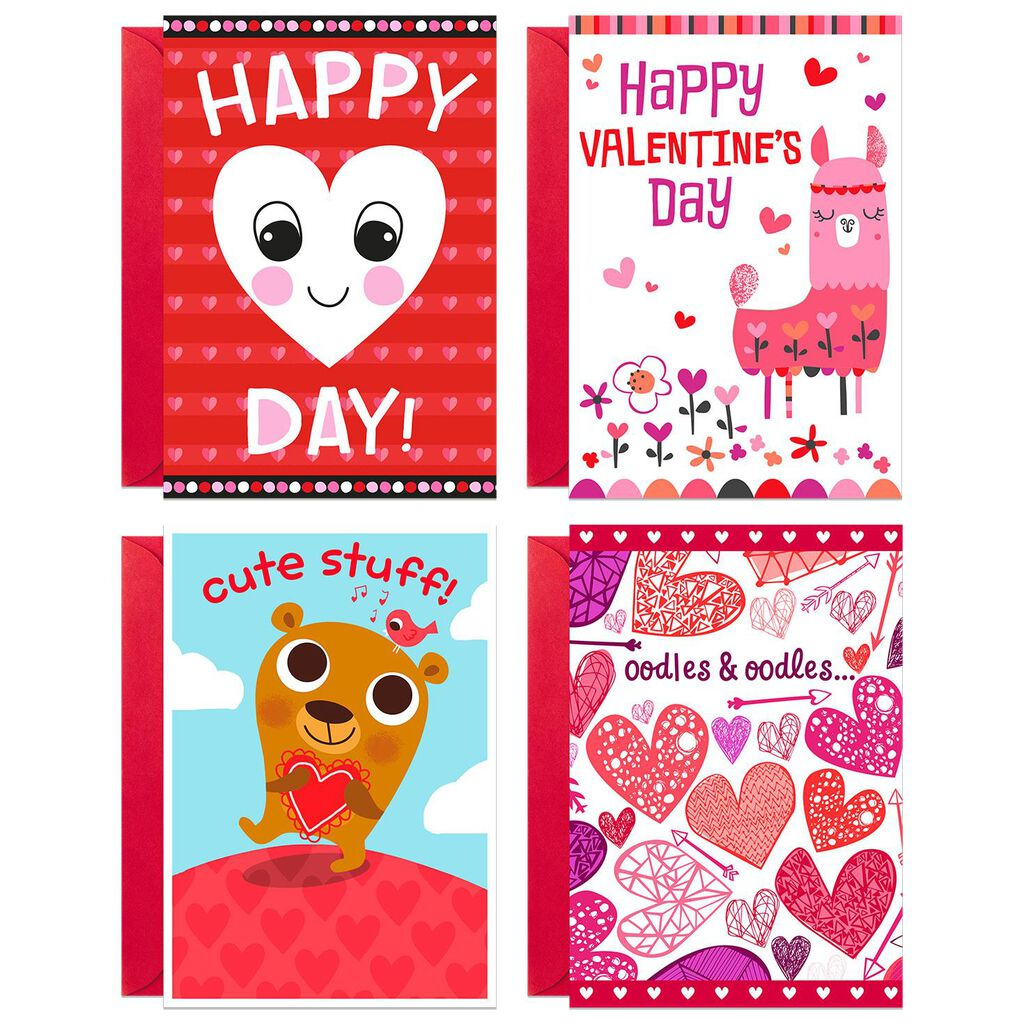 Hearts And Animals Valentine S Day Cards Pack Of 8 Boxed Cards