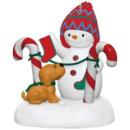 Stockings Hung With Care Snowman and Puppy Plush Music Ornament, , large