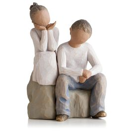 Willow Tree® Brother and Sister Figurine (darker hair and skin tone), , large