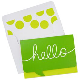 Green Hello Word Bubble Blank Note Cards, Box of 10, , large