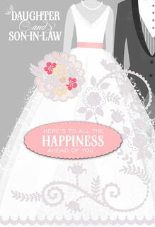 Happiness Ahead Daughter and Son-in-Law Wedding Card,