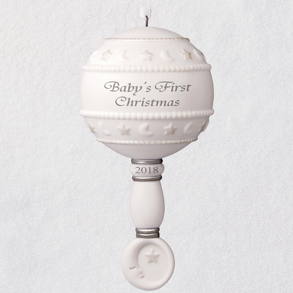 Babys First Christmas Rattle 2018 Porcelain Ornament Keepsake