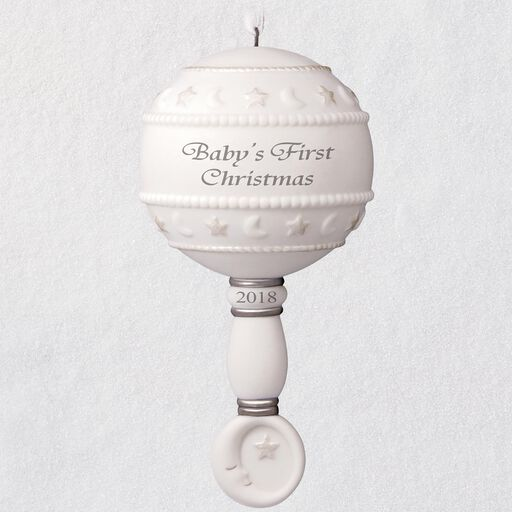 Baby's First Christmas Rattle 2018 Porcelain Ornament, ... - Keepsake Ornaments Hallmark Ornaments Hallmark