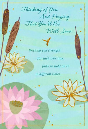 Water Lilies and Cattails Get Well Card