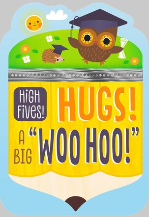 Owl and Hedgehog Graduation Card
