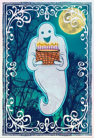 Ghost With Birthday Cake Halloween Card