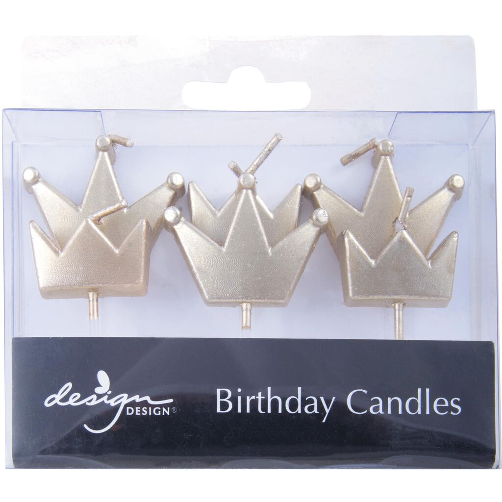 Gold Crowns Birthday Candles Set Of 6