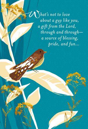 Bird on Leaf Religious Birthday Card for Son