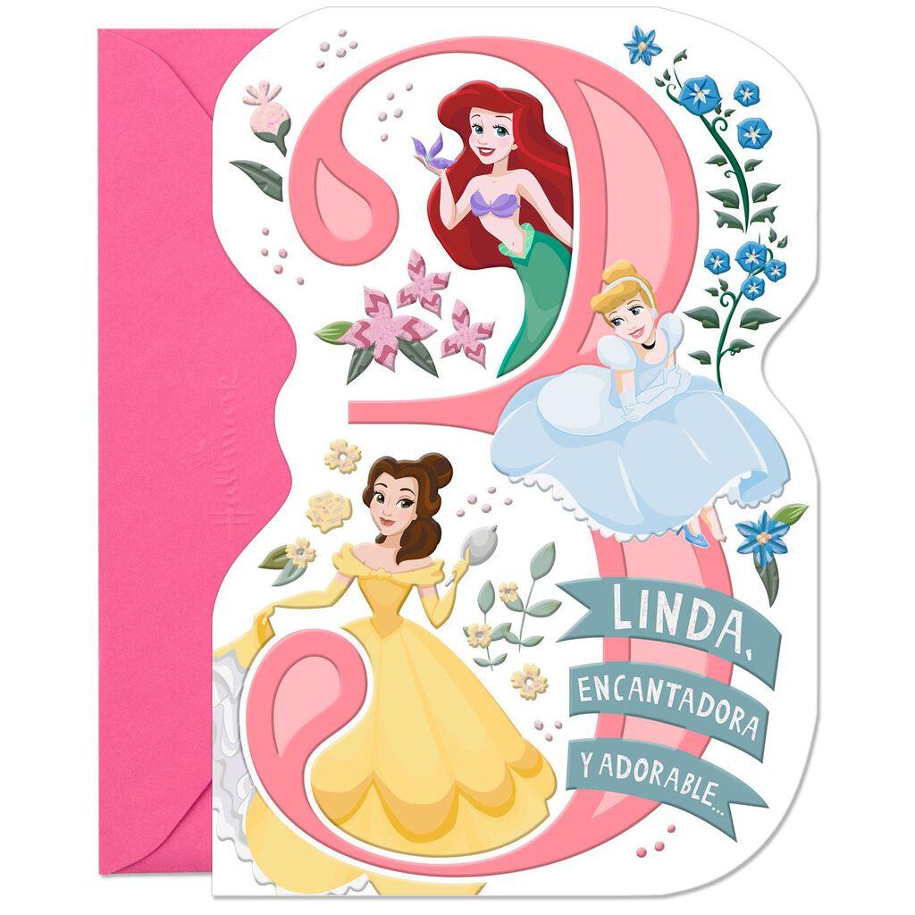 Disney Princesses Spanish Language 3rd Birthday Card
