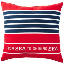 "Patriotic Sea to Shining Sea Indoor/Outdoor Pillow, 16"" Square, , large"