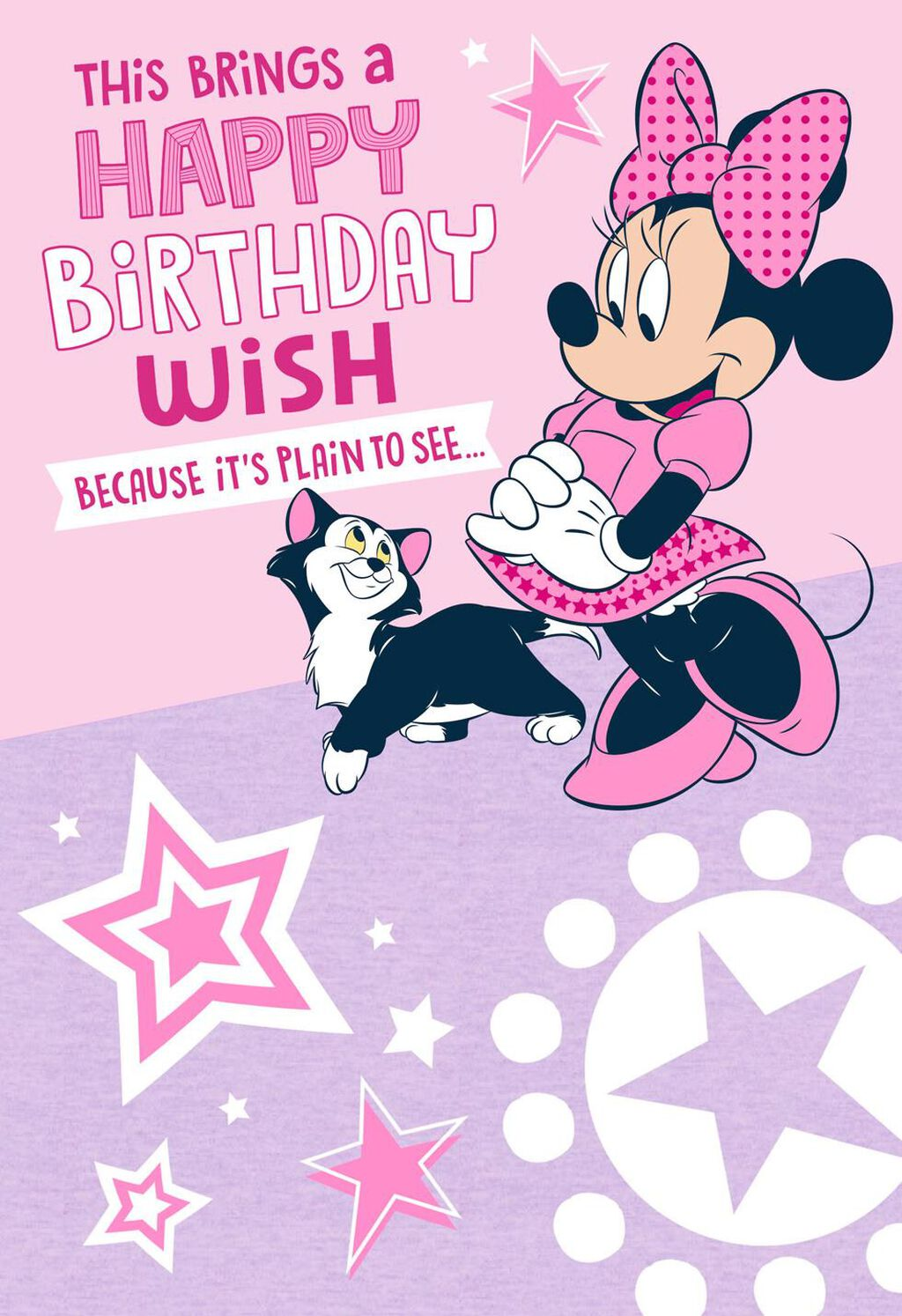 Minnie Mouse And Kitty Musical Birthday Card
