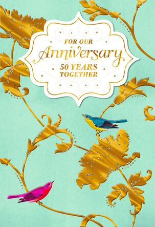 Birds and Flowers Celebrating Our 50th Anniversary Card