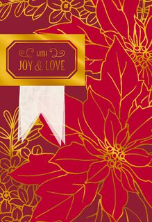 Gold Foil Poinsettia Christmas Card,