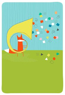 Music Notes and Fox Blank Congratulations Card,