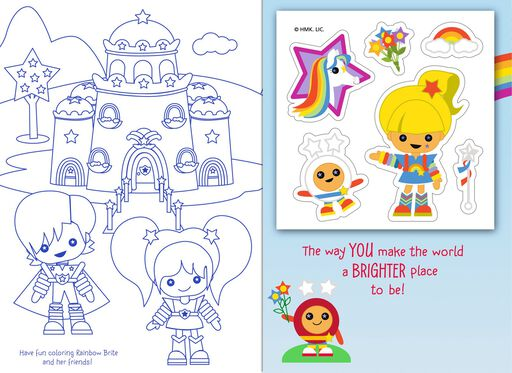 Rainbow Brite and Friends Stylized Coloring Card With Stickers,