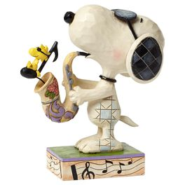 Jim Shore® Peanuts® Woodstock and Snoopy Joe Cool Saxophone Figurine, , large