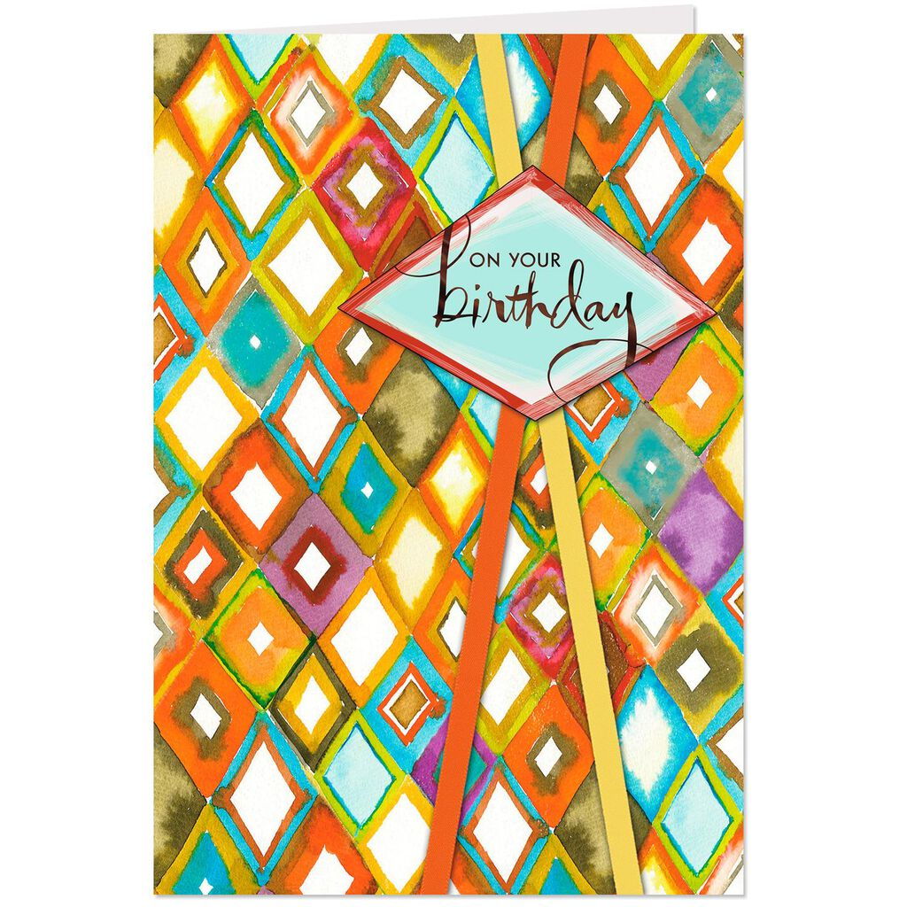 Wishing You Happiness Watercolor Design Birthday Card