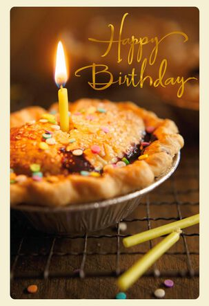 Pie With Candle Celebrating You Birthday Card