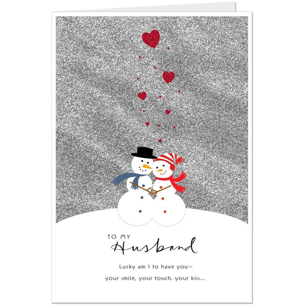 Hugging Snowman Couple Christmas Card For Husband