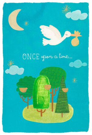Once Upon a Time Stork New Baby Congratulations Card