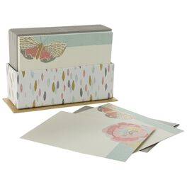 Butterfly and Flower Blank Note Cards in Caddy, Pack of 50, , large