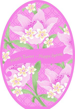 Pink Lily Flowers Easter Card