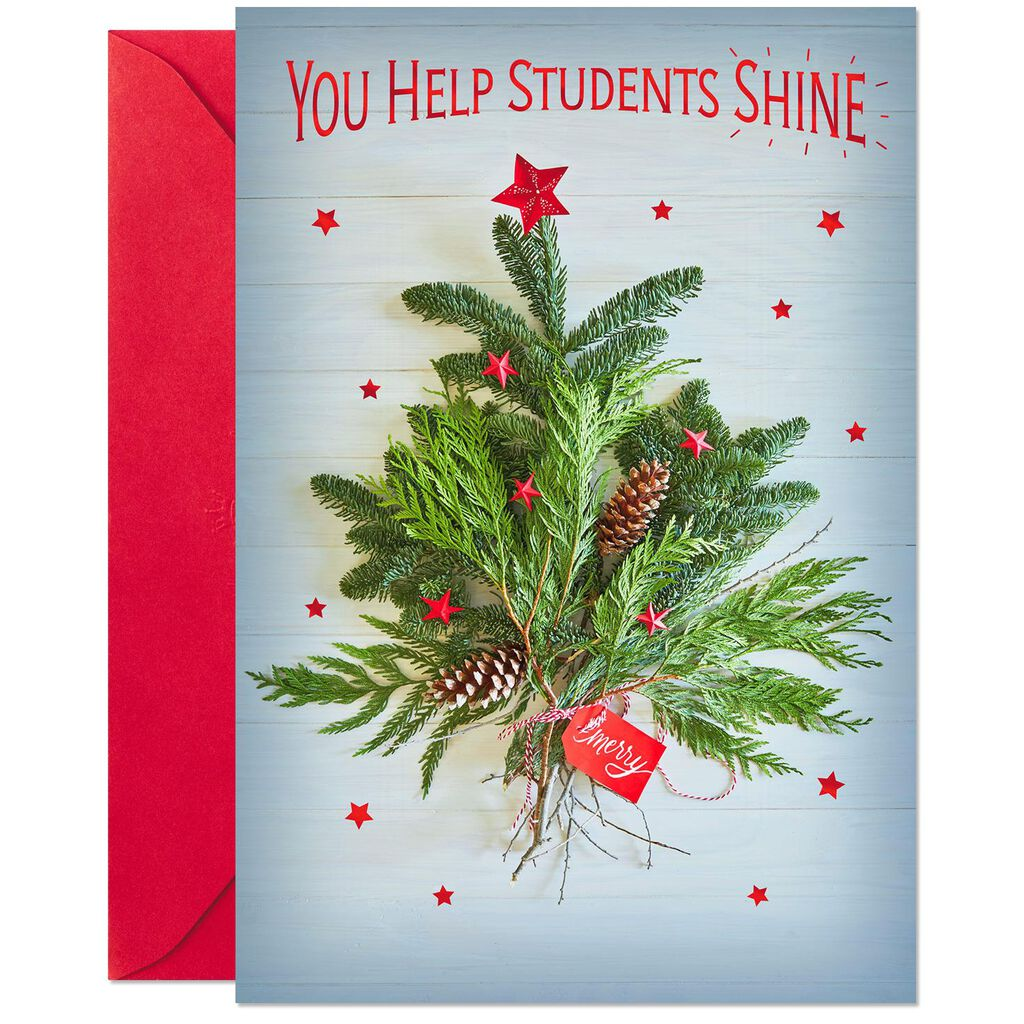 You Shine Thank You Christmas Card for Teacher - Greeting Cards ...