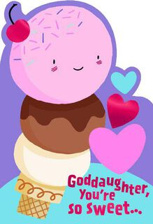 Ice Cream Cone Valentine's Day Card for Goddaughter,