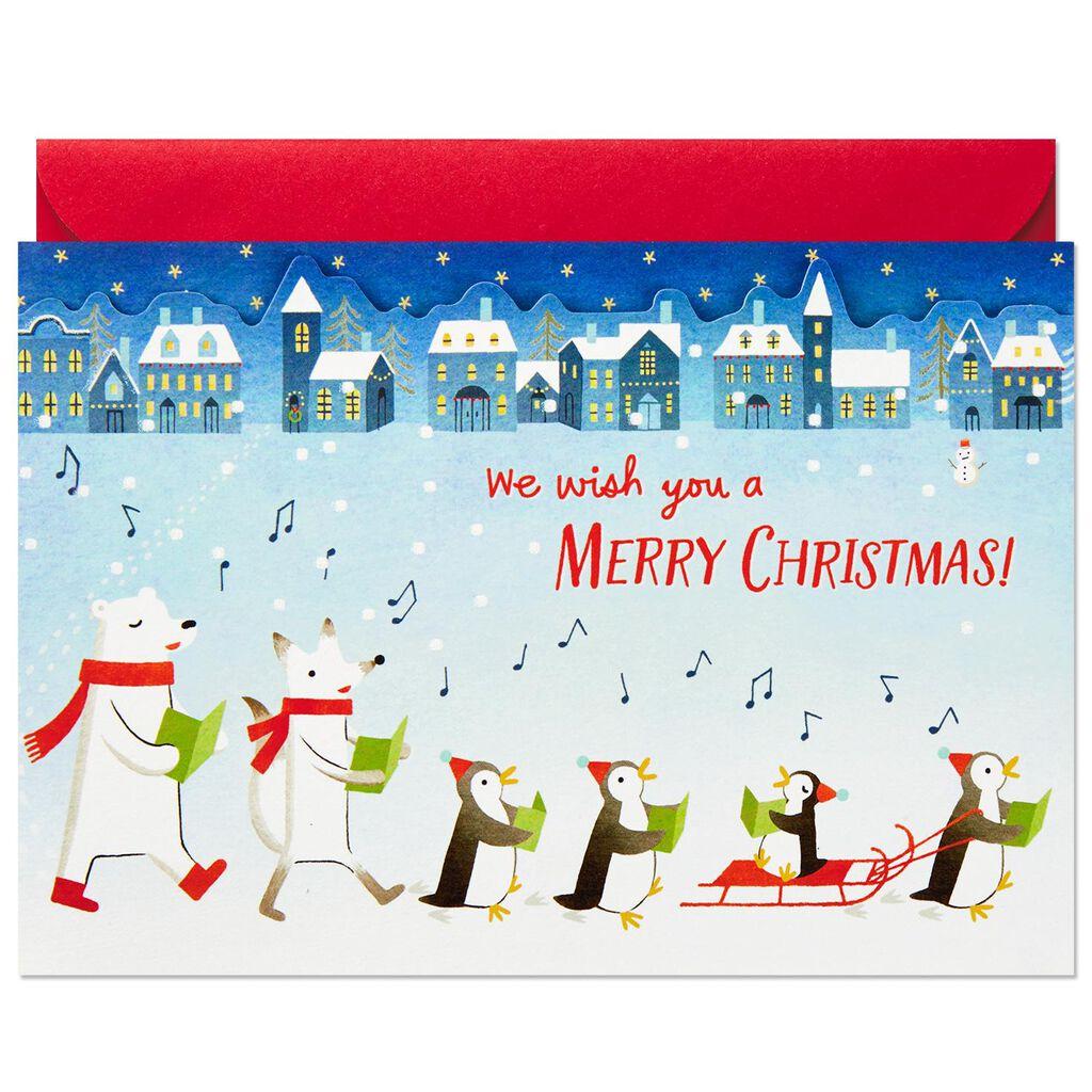 We Wish You a Merry Christmas Caroling Animals Pop Up Christmas Card ...