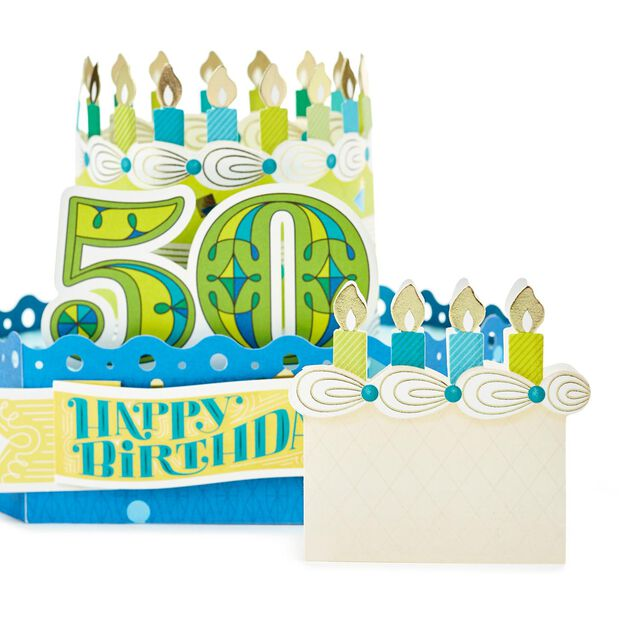 Celebrate With Cake Pop Up 50th Birthday Card Greeting Cards – Birthday Greetings for 50th Birthday