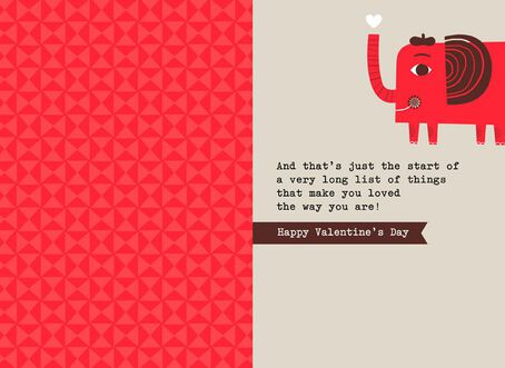 Elephant Dad Love From Kid Valentines Day Card Greeting Cards – Valentines Card for Dad