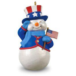 American Patriotic Snowman Ornament, , large