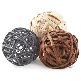 Set of 3 Natural/Charcoal/Cream Decorative Balls, , large