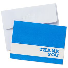 White Stripe on Blue Thank You Notes, Box of 24, , large