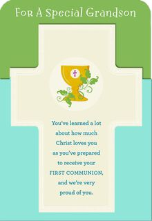 Proud of You, Grandson First Communion Card,