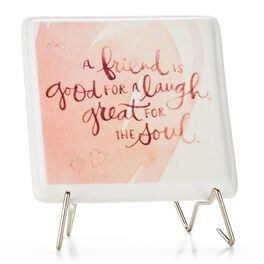 A Friend is Good for a Laugh Porcelain Plaque with Metal Stand, , large