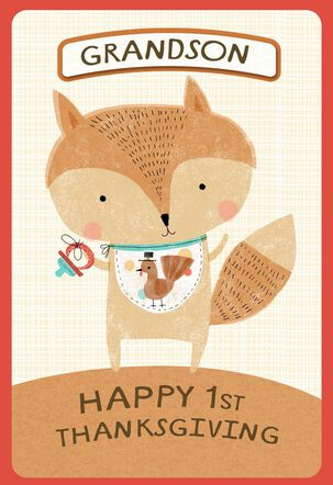 Baby Fox With Bib First Thanksgiving Pick-a-Title Card
