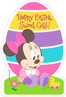 Minnie Mouse Egg-Shaped Easter Card for Girls,