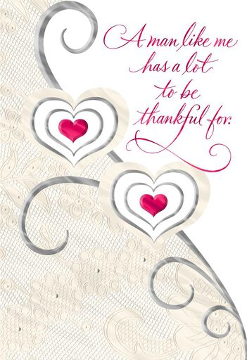 lace double hearts valentines day card