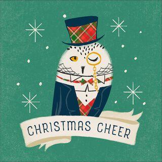 Handsome Owl Musical Christmas Card,