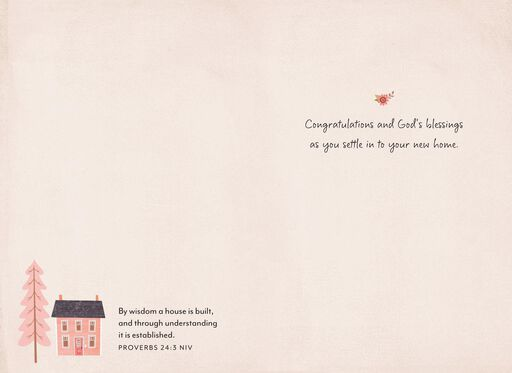 pink house religious new home congratulations card