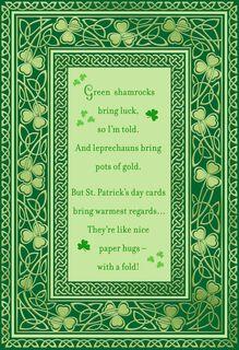 Green Shamrock Poem St. Patrick's Day Card,