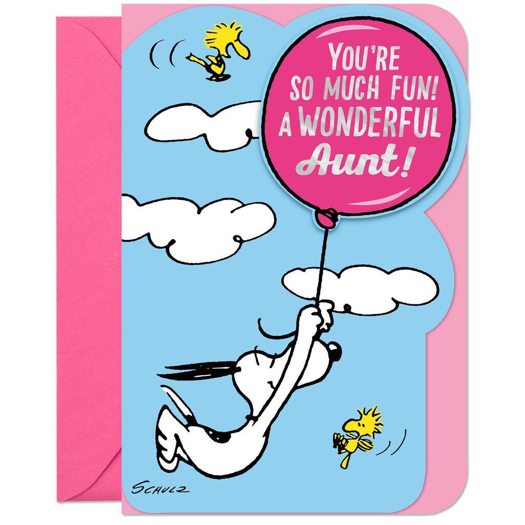 PeanutsR Snoopy And Woodstock Wonderful Aunt Birthday Card