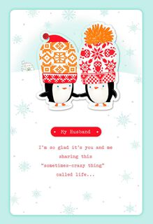 Penguins in Hats Christmas Card for Husband,