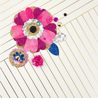 Paper Flowers Blank Card,