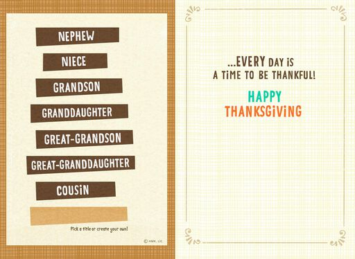 Raccoon Pilgrim Pick-a-Title Kids Thanksgiving Card,